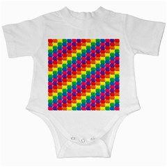 Rainbow 3d Cubes Red Orange Infant Creepers