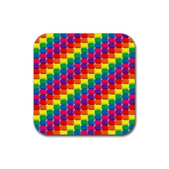 Rainbow 3d Cubes Red Orange Rubber Square Coaster (4 Pack)