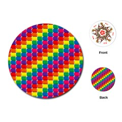 Rainbow 3d Cubes Red Orange Playing Cards (round)