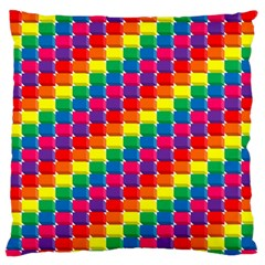 Rainbow 3d Cubes Red Orange Large Flano Cushion Case (two Sides)