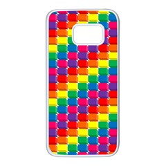 Rainbow 3d Cubes Red Orange Samsung Galaxy S7 White Seamless Case