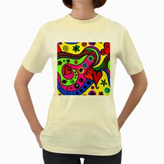 Seamless Tile Background Abstract Women s Yellow T Shirt