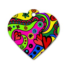 Seamless Tile Background Abstract Dog Tag Heart (one Side)