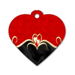 Red Black Background Wallpaper Bg Dog Tag Heart (one Side)