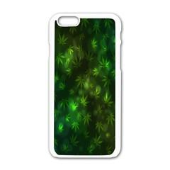 Bokeh Background Texture Marijuana Apple Iphone 6/6s White Enamel Case