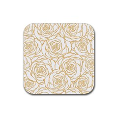 Yellow Peonies Rubber Coaster (square)
