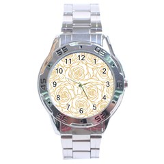 Yellow Peonies Stainless Steel Analogue Watch