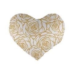 Yellow Peonies Standard 16  Premium Heart Shape Cushions