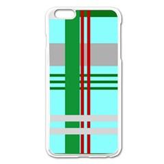 Christmas Plaid Backgrounds Plaid Apple Iphone 6 Plus/6s Plus Enamel White Case