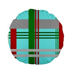Christmas Plaid Backgrounds Plaid Standard 15  Premium Round Cushions