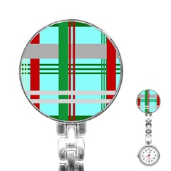 Christmas Plaid Backgrounds Plaid Stainless Steel Nurses Watch