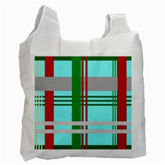 Christmas Plaid Backgrounds Plaid Recycle Bag (two Side)
