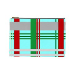 Christmas Plaid Backgrounds Plaid Cosmetic Bag (large)