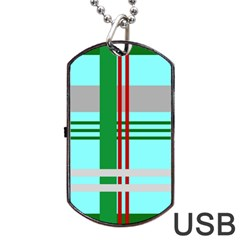 Christmas Plaid Backgrounds Plaid Dog Tag Usb Flash (one Side)