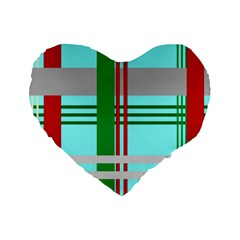 Christmas Plaid Backgrounds Plaid Standard 16  Premium Heart Shape Cushions