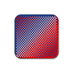 Dots Red White Blue Gradient Rubber Coaster (square)