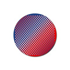 Dots Red White Blue Gradient Rubber Round Coaster (4 Pack)