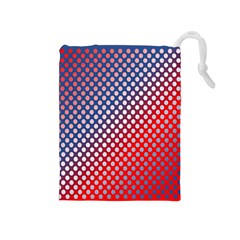 Dots Red White Blue Gradient Drawstring Pouches (medium)
