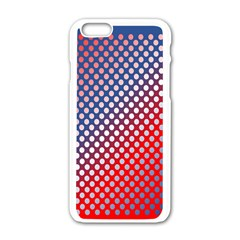 Dots Red White Blue Gradient Apple Iphone 6/6s White Enamel Case