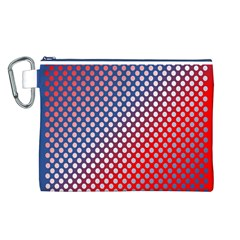 Dots Red White Blue Gradient Canvas Cosmetic Bag (l)