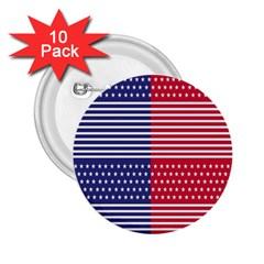American Flag Patriot Red White 2 25  Buttons (10 Pack)