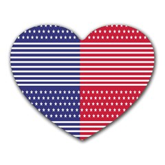 American Flag Patriot Red White Heart Mousepads
