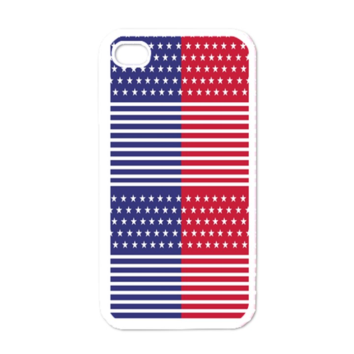 American Flag Patriot Red White Apple iPhone 4 Case (White)