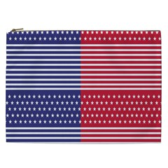 American Flag Patriot Red White Cosmetic Bag (xxl)