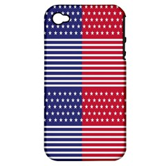 American Flag Patriot Red White Apple Iphone 4/4s Hardshell Case (pc+silicone)