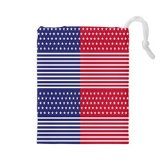 American Flag Patriot Red White Drawstring Pouches (large)