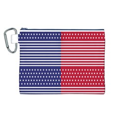 American Flag Patriot Red White Canvas Cosmetic Bag (l)