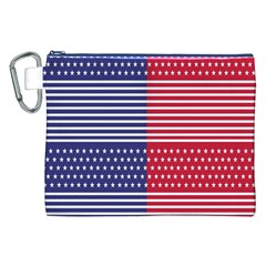 American Flag Patriot Red White Canvas Cosmetic Bag (xxl)