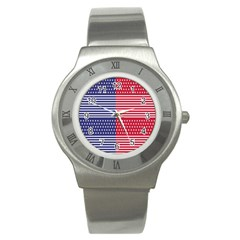 American Flag Patriot Red White Stainless Steel Watch