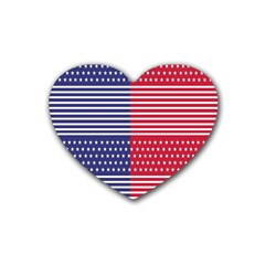 American Flag Patriot Red White Rubber Coaster (heart)