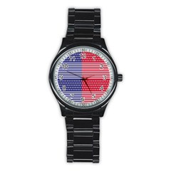 American Flag Patriot Red White Stainless Steel Round Watch