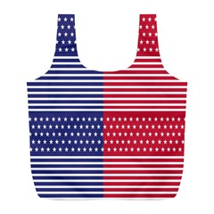 American Flag Patriot Red White Full Print Recycle Bags (l)