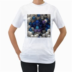 Cube Cubic Design 3d Shape Square Women s T Shirt (white) (two Sided)