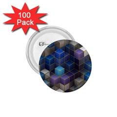 Cube Cubic Design 3d Shape Square 1 75  Buttons (100 Pack)