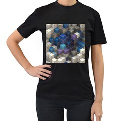 Cube Cubic Design 3d Shape Square Women s T Shirt (black) (two Sided)