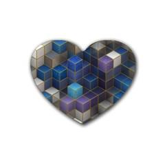 Cube Cubic Design 3d Shape Square Rubber Coaster (heart)