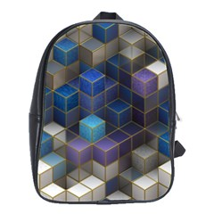 Cube Cubic Design 3d Shape Square School Bag (large)