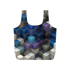 Cube Cubic Design 3d Shape Square Full Print Recycle Bags (s)
