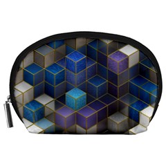 Cube Cubic Design 3d Shape Square Accessory Pouches (large)