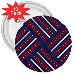 Patriotic Red White Blue Stars 3  Buttons (10 Pack)
