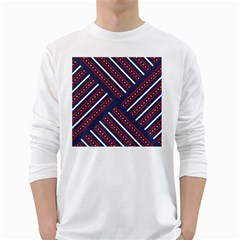Patriotic Red White Blue Stars White Long Sleeve T Shirts