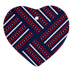 Patriotic Red White Blue Stars Heart Ornament (two Sides)