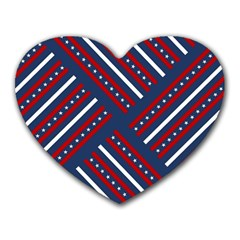 Patriotic Red White Blue Stars Heart Mousepads