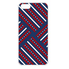 Patriotic Red White Blue Stars Apple Iphone 5 Seamless Case (white)