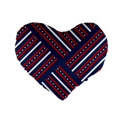 Patriotic Red White Blue Stars Standard 16  Premium Heart Shape Cushions