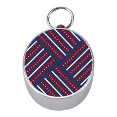 Patriotic Red White Blue Stars Mini Silver Compasses